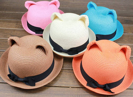 hat Cat Ear Straw Bowler