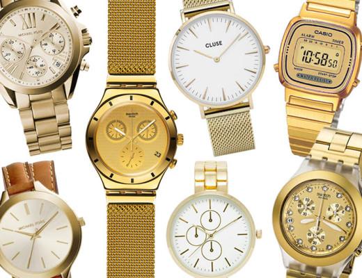 L'orologio dorato e un must e qui ce ne sono per tutti i budget