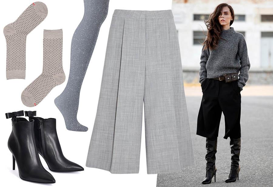 come abbinare pantaloni culottes in inverno