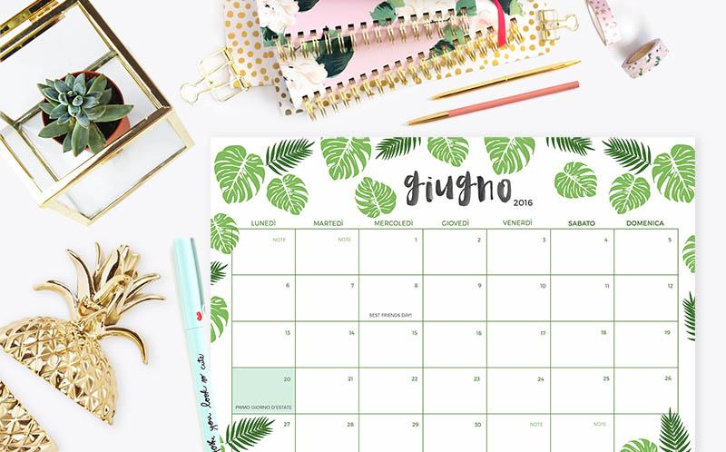 Calendario Di Giugno.Download Scarica E Stampa Il Calendario Planner Di Giugno